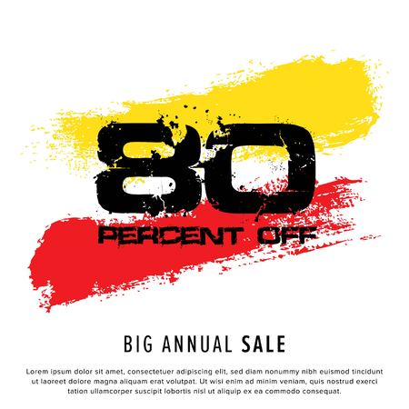 Vector colorful illustration. Grunge poster with big inscription - 80 percent off, big annual sale. Yellow, red, black, white background. Advertising of season sale. Promo image with shopping offer. 일러스트