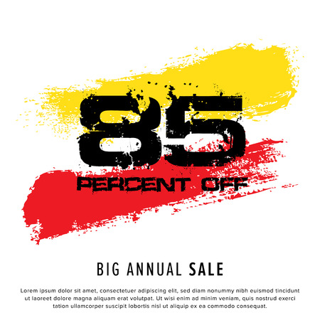 Vector colorful illustration. Grunge poster with big inscription - 85 percent off, big annual sale. Yellow, red, black, white background. Advertising of season sale. Promo image with shopping offer. 일러스트
