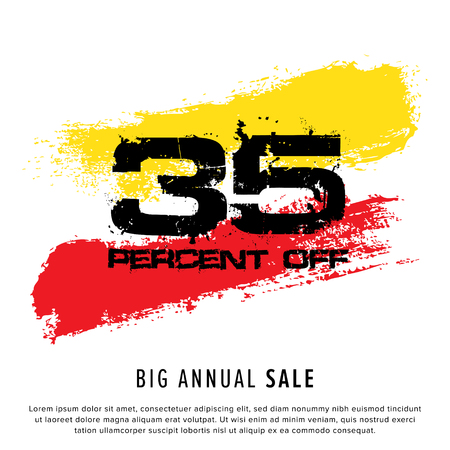 Vector colorful illustration. Grunge poster with big inscription - 35 percent off, big annual sale. Yellow, red, black, white background. Advertising of season sale. Promo image with shopping offer. 일러스트