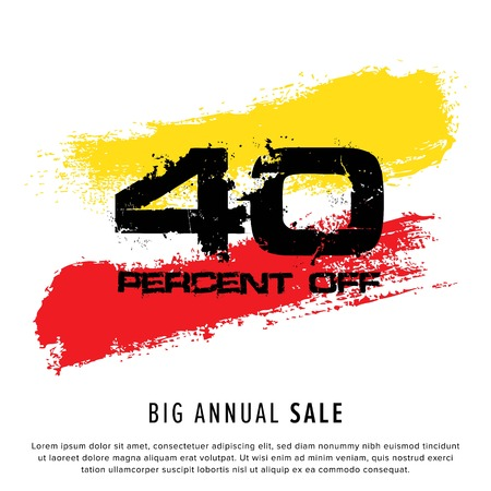 Vector colorful illustration. Grunge poster with big inscription - 40 percent off, big annual sale. Yellow, red, black, white background. Advertising of season sale. Promo image with shopping offer.