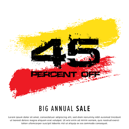Vector colorful illustration. Grunge poster with big inscription - 45 percent off, big annual sale. Yellow, red, black, white background. Advertising of season sale. Promo image with shopping offer. 일러스트