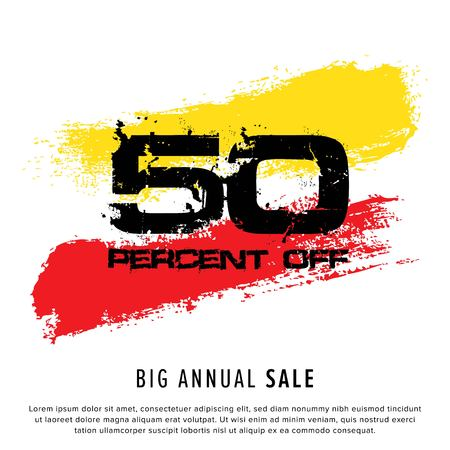 Vector colorful illustration. Grunge poster with big inscription - 50 percent off, big annual sale. Yellow, red, black, white background. Advertising of season sale. Promo image with shopping offer.