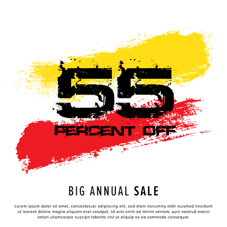 Vector colorful illustration. Grunge poster with big inscription - 55 percent off, big annual sale. Yellow, red, black, white background. Advertising of season sale. Promo image with shopping offer. 일러스트