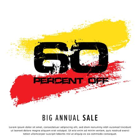 Vector colorful illustration. Grunge poster with big inscription - 60 percent off, big annual sale. Yellow, red, black, white background. Advertising of season sale. Promo image with shopping offer.