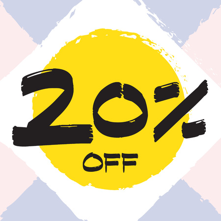 Vector colorful illustration. Grunge poster with big inscription - 20 percent off. Yellow, red, black, white background. Advertising of season sale. Promo image with shopping offer. 일러스트