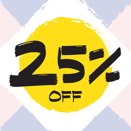 Vector colorful illustration. Grunge poster with big inscription - 25 percent off. Yellow, red, black, white background. Advertising of season sale. Promo image with shopping offer. 일러스트