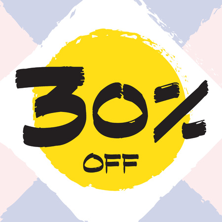 Vector colorful illustration. Grunge poster with big inscription - 30 percent off. Yellow, red, black, white background. Advertising of season sale. Promo image with shopping offer. 일러스트