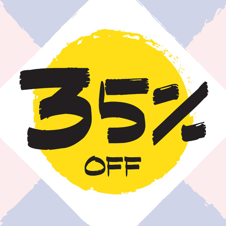 Vector colorful illustration. Grunge poster with big inscription - 35 percent off. Yellow, red, black, white background. Advertising of season sale. Promo image with shopping offer. 일러스트
