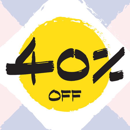 Vector colorful illustration. Grunge poster with big inscription - 40 percent off. Yellow, red, black, white background. Advertising of season sale. Promo image with shopping offer. 일러스트