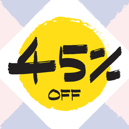 Vector colorful illustration. Grunge poster with big inscription - 45 percent off. Yellow, red, black, white background. Advertising of season sale. Promo image with shopping offer.