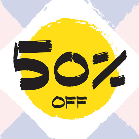 Vector colorful illustration. Grunge poster with big inscription - 50 percent off. Yellow, red, black, white background. Advertising of season sale. Promo image with shopping offer.