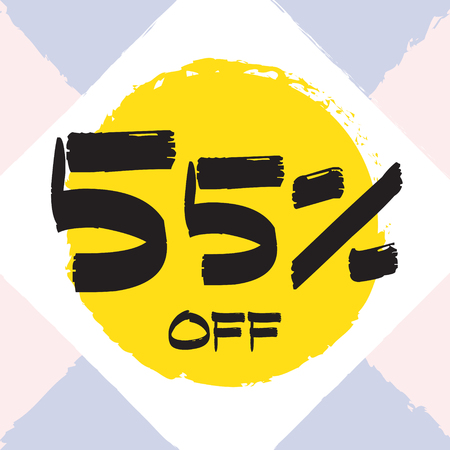 Vector colorful illustration. Grunge poster with big inscription - 55 percent off. Yellow, red, black, white background. Advertising of season sale. Promo image with shopping offer.