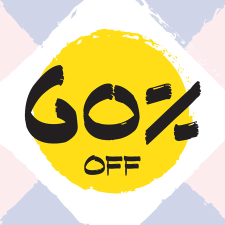Vector colorful illustration. Grunge poster with big inscription - 60 percent off. Yellow, red, black, white background. Advertising of season sale. Promo image with shopping offer.