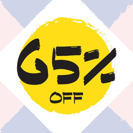 Vector colorful illustration. Grunge poster with big inscription - 65 percent off. Yellow, red, black, white background. Advertising of season sale. Promo image with shopping offer.