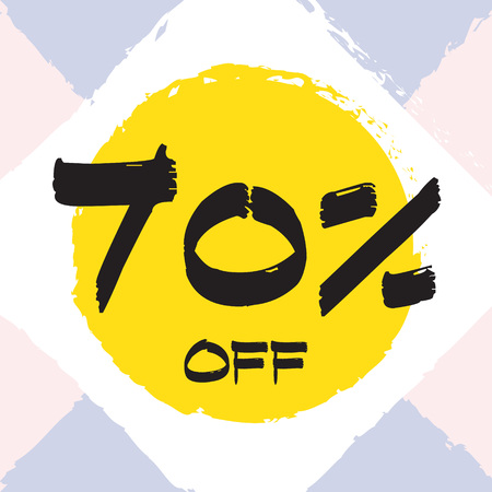 Vector colorful illustration. Grunge poster with big inscription - 70 percent off. Yellow, red, black, white background. Advertising of season sale. Promo image with shopping offer. 일러스트