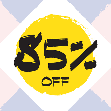Vector colorful illustration. Grunge poster with big inscription - 85 percent off. Yellow, red, black, white background. Advertising of season sale. Promo image with shopping offer.