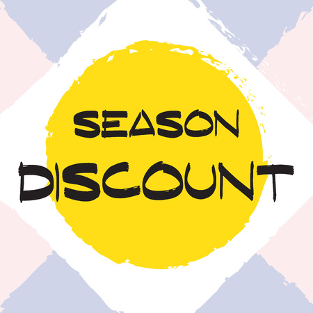 Vector colorful illustration. Grunge poster with big inscription. Yellow, red, black, white background. Advertising of season sale. Promo image with shopping offer.