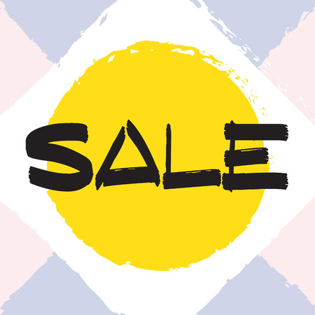 Vector colorful illustration. Grunge poster with big inscription - sale. Yellow, pink, blue, white background. Advertising of season sale. Promo image with shopping offer.