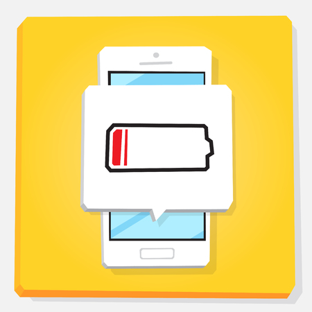 3d vector illustration of smartphone. Isometric flat design. Mobile phone window with notification about low energy level of battery. Risk of shutdown. Lack of accumulator power, need recharging.