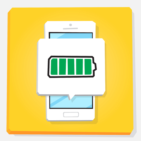 3d vector illustration of smartphone. Isometric flat design. Mobile phone window with notification about full energy level of battery. 100% of accumulator power.