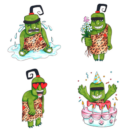 Hand drawn colorful illustration. Watercolor artwork set. Cute green troll crying, holds flowers and smile, in love, jumping out of birthday cake with the cap on head. Pictures for children.