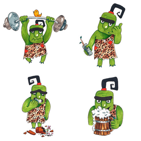 Hand drawn colorful illustration. Watercolor artwork set. Cute green troll lifts up barbell with bird, holds phone and shows gesture call me, broke flower pot, holds beer cup. Pictures for children. 스톡 콘텐츠