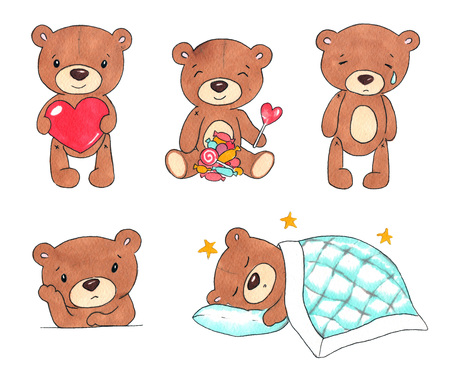 Hand drawn colorful illustration. Watercolor artwork set. Cute Teddy bear holding heart, lollipops, candy, crying, sad, sleeping under the blanket. Pictures for children.