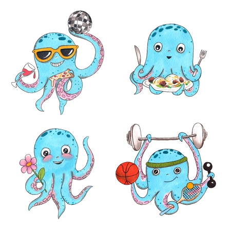 Hand drawn colorful illustration. Watercolor artwork set. Octopus in sunglasses dance with disco ball, pizza and wine. Holds pasta, flower, basketball, tennis racket, barbell. Pictures for children. Zdjęcie Seryjne