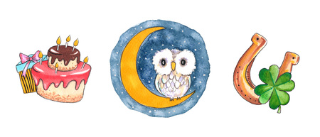 Hand drawn colorful illustration. Watercolor artwork set. Owl sits on half moon on night sky with stars. Cake and gift box for birthday. Golden horseshoe with four-leaf clover. Pictures for children. 스톡 콘텐츠