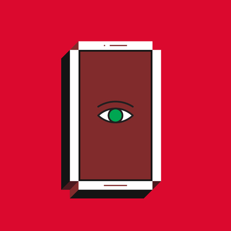 3d vector illustration of smartphone. Isometric flat design. Mobile phone screen with eye icon on red background. Concept of all the eye of the big brother, global digital surveillance, cyber security.