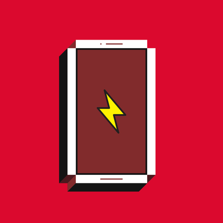 3d vector illustration of smartphone. Isometric flat design. Mobile phone screen with yellow lightning icon on red background. Concept of notification about discharge accumulator. Illustration