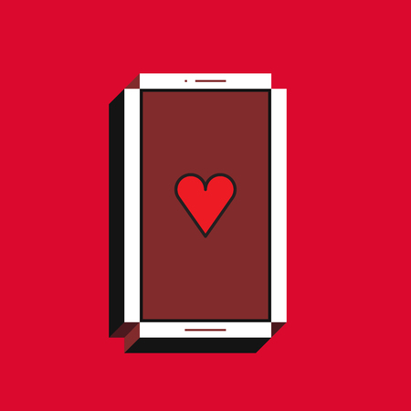 3d vector illustration of smartphone. Isometric flat design. Mobile phone screen with red heart icon on red background. Concept of new like notification.