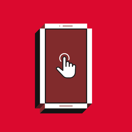3d vector illustration of smartphone. Isometric flat design. Mobile phone screen with finger tap icon on red background. Concept of touchscreen interface.