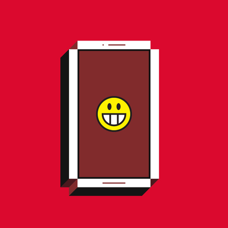 3d vector illustration of smartphone isometric flat design. Mobile phone screen with grinning face emoji icon on red background. Concept of comic post, message or comment.