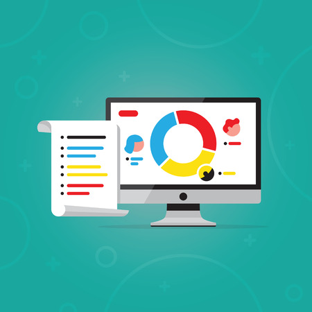 Vector illustration of computer. Flat design. Desktop pc monitor with user icon, pie chart and list on paper. Concept of a person.