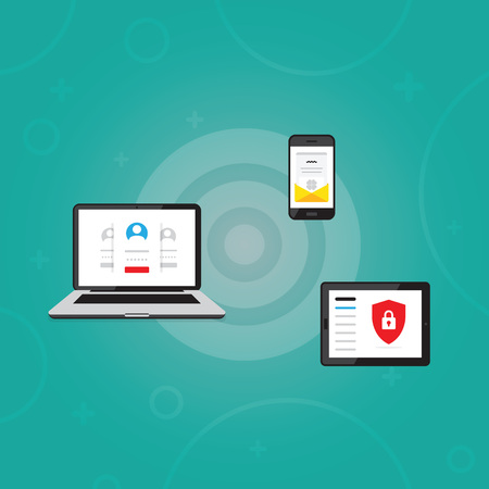 Vector illustration of laptop. Flat design. Notebook monitor screen with user login form, smartphone with open email letter in envelope, tablet with shield and lock. Personal customer account protect. 일러스트