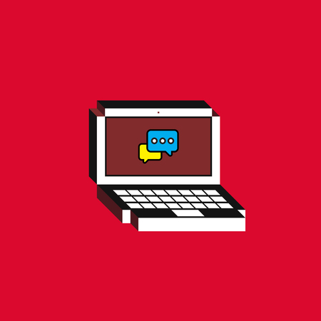 3d Vector illustration of laptop. Isometric flat design. Notebook monitor screen with chat bubbles icon on red background. Concept of digital communication, messaging or customer support service.