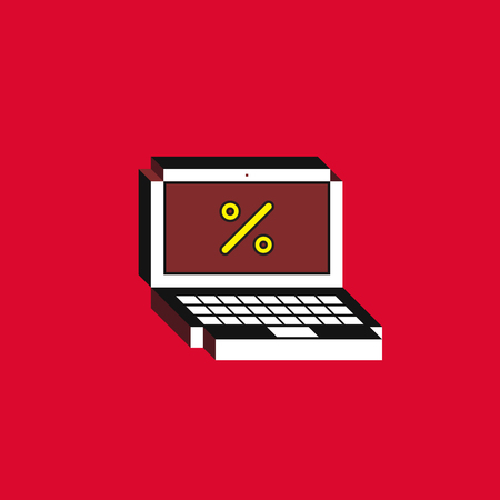 3d Vector illustration of laptop. Isometric flat design. Notebook monitor with percent icon on red background. Concept of season sale or advertising.