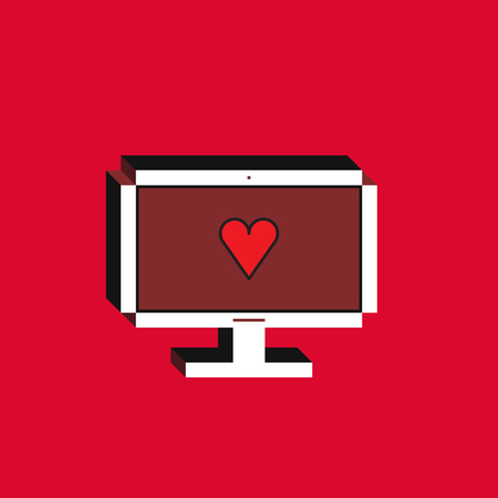 3d vector illustration of computer. Isometric flat design. Desktop monitor with red heart icon on red background. Concept of new like notification.