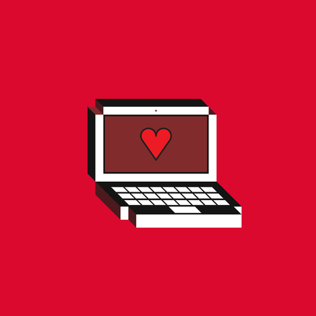 3d Vector illustration of laptop. Isometric flat design. Notebook monitor with red heart icon on red background. Concept of new like notification. 일러스트