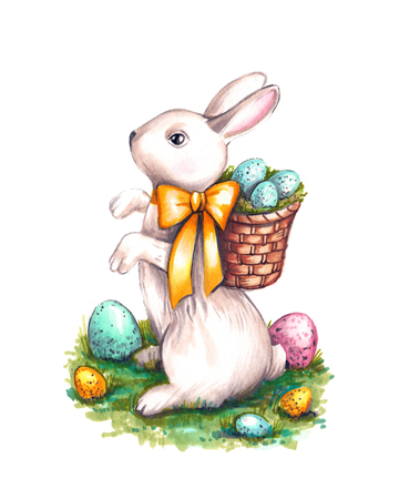 Hand drawn aquarelle colorful illustration. Watercolor artwork. Easter rabbit with egg basket and ribbon on green grass. Little rufous bunny sits on the floor.