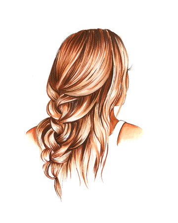 Hand drawn aquarelle colorful illustration. Watercolor artwork. Young girl posing, she turned her back, blonde hair curling over her shoulders and woven into a braid.