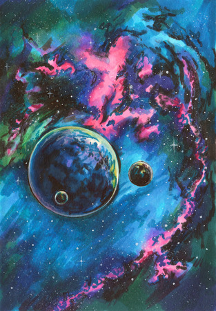 Hand drawn aquarelle colorful illustration. Far galaxy with nebula and planets. Deep space, stars, travel to new world.