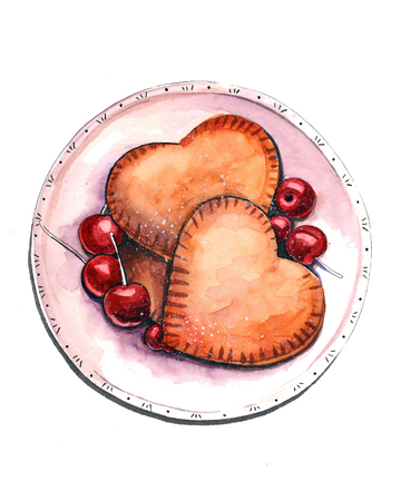 Hand drawn aquarelle colorful illustration. Watercolor artwork. Delicious heart shaped cookies with cherry berries on a porcelain plate. Sweet taste dessert or breakfast. Reklamní fotografie