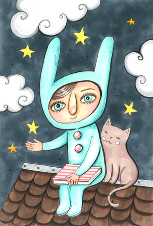 Hand drawn aquarelle colorful illustration. Watercolor artwork. Cute little girl sitting on the roof with pretty cat, hold star over hand. Dark sky on background with yellow stars and clouds. Good night poster or card. 스톡 콘텐츠