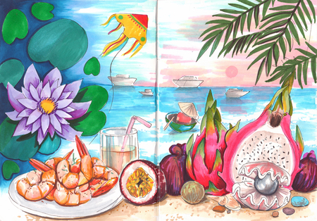 Hand drawn aquarelle colorful illustration. Watercolor artwork. Summertime, sea beach coast. Fruit, pearl, sunset, shrimp, lotus flower, flying kite. Still life painting. Summer vacation in Thailand.