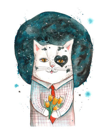 Hand drawn watercolor artwork. Painted aquarelle picture. Artist painting. Cute cat in checked shirt with red tie holds and gives yellow buds flowers bouquet. March 8 congratulations, love date gift.