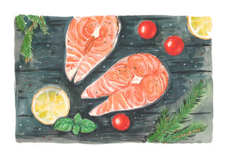 Hand drawn watercolor artwork. Painted aquarelle picture. Artist painting. Red fresh cooked salmon pieces served on wooden table. Delicious fish steaks with tomatoes, lemon, herbs. Healthy diet food.