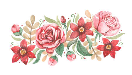 Hand drawn watercolor artwork. Painted aquarelle picture. Artist painting. Live flowers with rose petals, buds and leaves. Natural plant. Fashionable print. 版權商用圖片