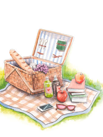 Hand drawn watercolor artwork. Painted aquarelle picture. Artist painting. Romantic garden picnic. Sunny day. Vintage, food, fresh bread, books, wicker basket, checkered blanket, grass, lawn.